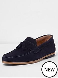 river-island-tadley-navy-suede-loafer