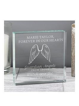 Very Personalised Guardian Angel Wings Large Crystal Token Picture