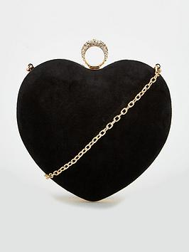 carvela-black-love-heart-box-clutch-bag