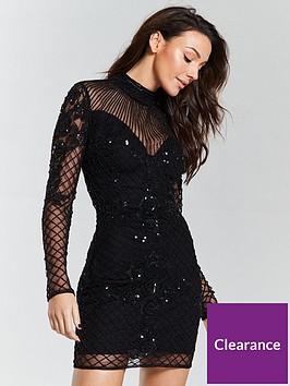 michelle-keegan-premium-hand-embellished-mini-dress-black