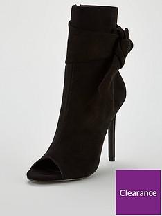 7832ca9490 V by Very Faze Bow Trim Peep Toe Shoe Boot - Black