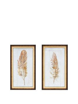 Gallery Gallery Autumn Feather Set Of 2 Framed Wall Art Prints Picture