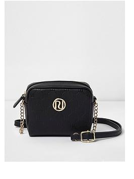 river-island-girls-black-ri-monogram-cross-body-chain-bag