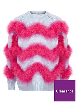 river-island-girls-blue-feather-trim-knit-jumper