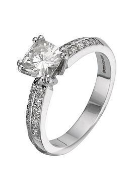 Moissanite Moissanite 18 Carat 150Pt White Gold Cushion Cut Engagement Ring Picture