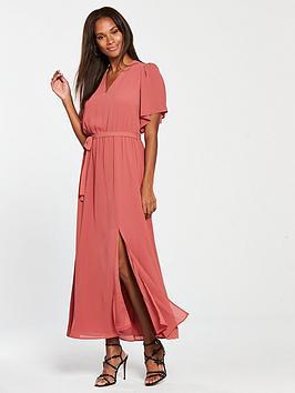 mango-tie-waist-maxi-dress-pink