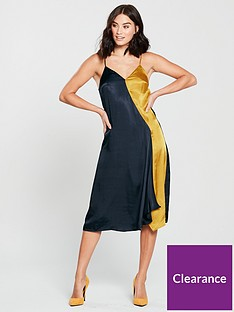 mango-colour-block-cami-midi-dress-navyyellow