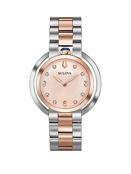 bulova-bulova-rubaiyat-rose-gold-and-diamond-dial-two-tone-stainless-steel-bracelet-ladies-watch