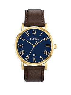 bulova-bulova-american-clipper-blue-dial-brown-leather-strap-mens-watch