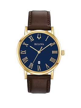 bulova-bulova-american-clipper-blue-dial-brown-leather-strap-mens-watch