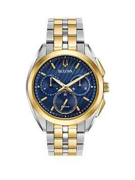 Bulova Bulova Curv Blue And Gold Chronograph Dial Two Tone Stainless Steel  ... Picture