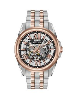 Bulova Bulova Classic Rose Gold And Grey Skeleton Dial Two Tone Stainless  ... Picture