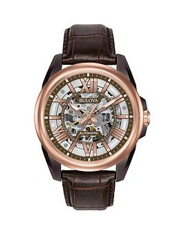bulova-bulova-classic-rose-gold-and-grey-skeleton-dial-brown-leather-strap-mens-watch