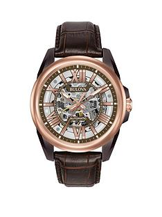 bulova-classic-rose-gold-and-grey-skeleton-dial-brown-leather-strap-mens-watch