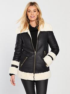 v-by-very-luxenbspfauxnbspshearling-coat-blackcream