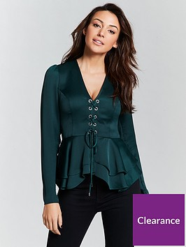 michelle-keegan-eyelet-lace-up-satin-blouse-green
