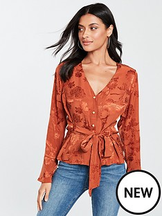 v-by-very-jacquardnbsptie-front-blouse-rust