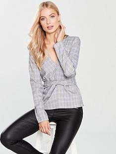 v-by-very-tie-front-top-check