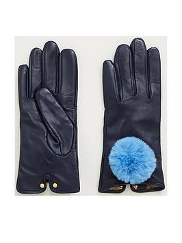 ted-baker-nacy-pom-leather-gloves-dark-bluenbsp