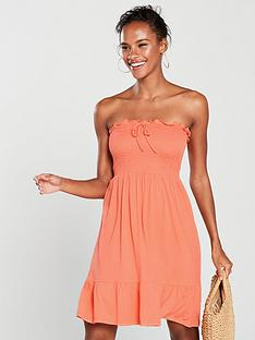 v-by-very-strapless-jersey-frill-beach-dress-coral