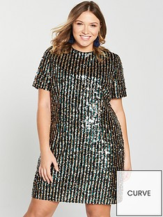 v-by-very-curve-stripe-sequin-tunic-dress