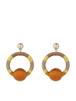 accessorize-ombre-thread-wrapped-ball-earrings-yellow