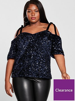 v-by-very-curve-cold-shoulder-sequin-top-midnight