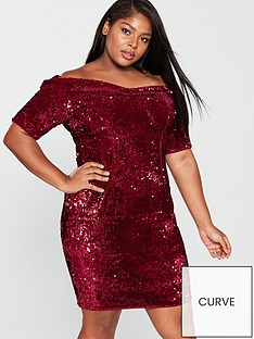 v-by-very-curve-sequin-bardot-bodycon-dress-red