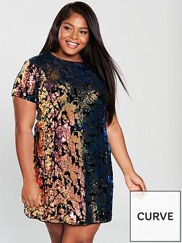v-by-very-curve-sequin-velvet-tunic-dress-multi