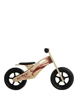 Sonic Sonic Sonic Curve Unisex Wooden Balance Bike - 10-Inch Picture