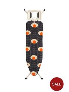 brabantia-ironing-board-b-medium-124-x-38-cm-with-solid-steam-iron-rest-orla-kiely-flower-oval-stem