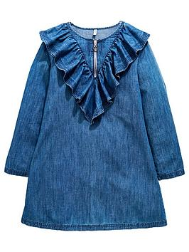 v-by-very-girls-ruffle-zip-denim-dress