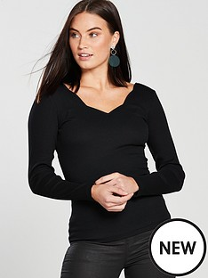 v-by-very-scallop-rib-top-black