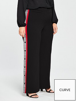 v-by-very-curve-wide-leg-side-stripe-popper-trouser-black
