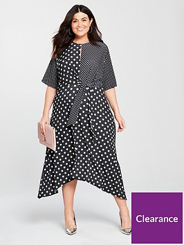 v-by-very-curve-mixed-spot-print-dip-hem-dress-printed