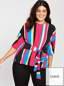 v-by-very-curve-stripe-belted-top-printednbsp
