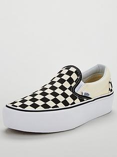 8443209d5910db Vans Classic Checkerboard Slip-on Platform - Monochrome