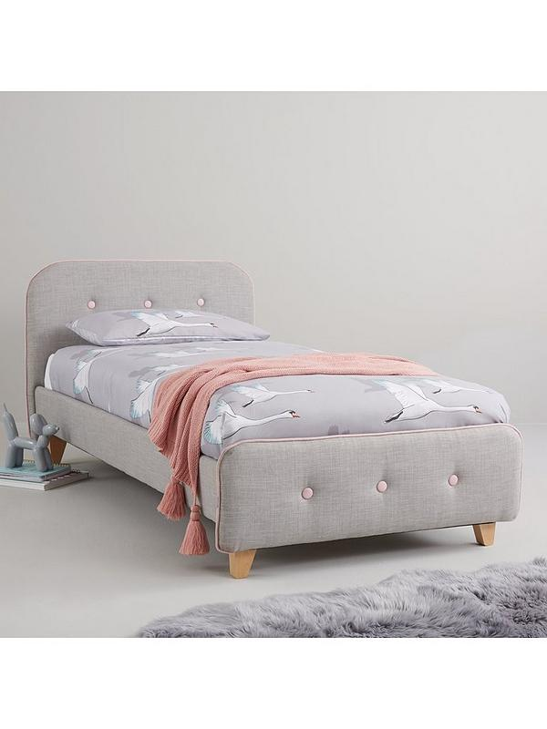 Charlie Piped Fabric Kids Single Bed With Mattress Options Buy And Save Littlewoods Com