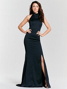 michelle-keegan-high-neck-fish-tail-maxi-dress-navy