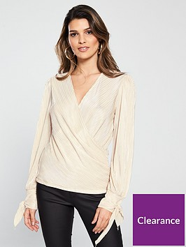 v-by-very-tie-cuff-wrap-top-metallic