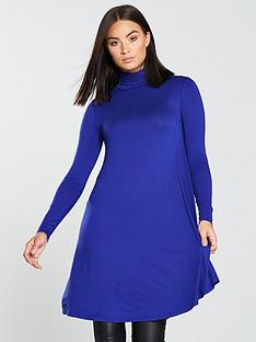 v-by-very-roll-neck-swing-dress-electric-blue