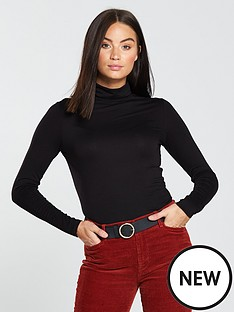 v-by-very-jersey-roll-neck-top-black