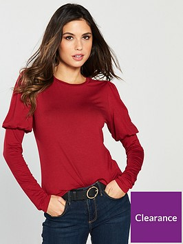 v-by-very-mutton-sleeve-top-crimson