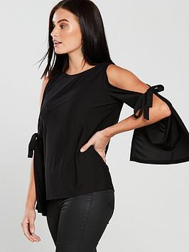 v-by-very-split-sleeve-bow-top-black