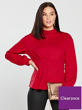 v-by-very-pin-tuck-waist-top-red