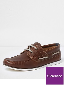 river-island-tan-brown-leather-lace-up-shoe
