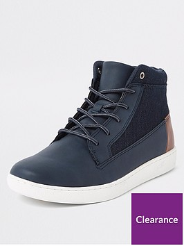 river-island-navy-denim-mid-top-trainers