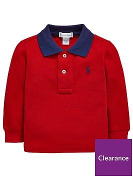 Red Polo Long Collar Shirt Sleeve Contrast Baby Boys 0wnXN8kOP