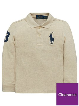 f7a0980570e3 Ralph Lauren Boys Big Pony Long Sleeve Polo Shirt - Grey ...