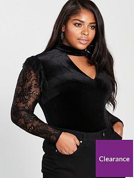 v-by-very-curve-velvetnbspchoker-neck-lace-sleeve-bodysuitnbsp--black